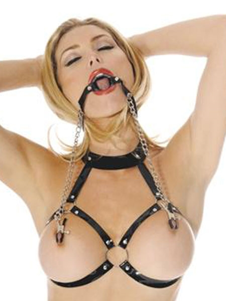 Fetish Fantasy O-Ring with nipple clamps