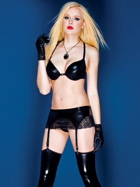 Wet look Garter Belt by Darque