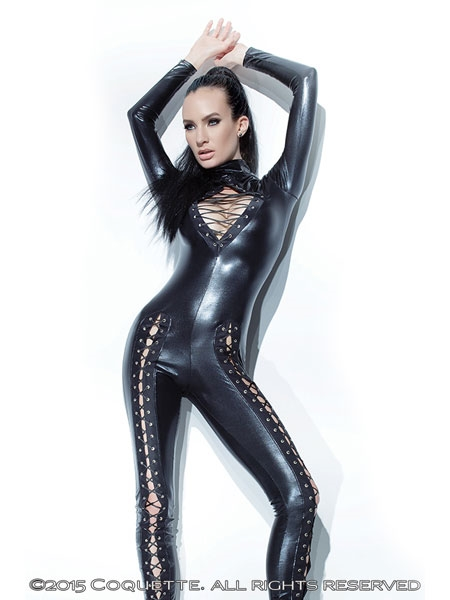 Wet Look Jumpsuit - Coquette Darque