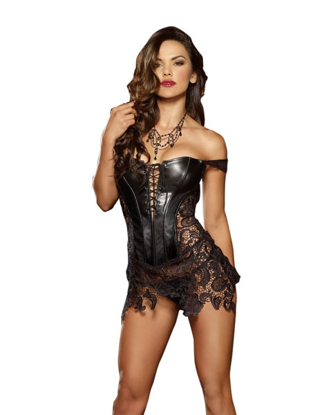 Faux Leather and venice Lace Corset - Dreamgirl