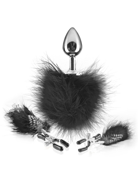 Feather Nipple Clamps and Butt Plug -  Fetish Fantasy Limited Edition