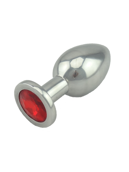 Red Jeweled Small Butt Plug Solid Aluminum
