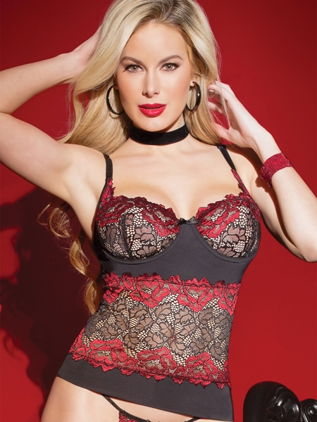 Red and Black Bustier Lace - Coquette