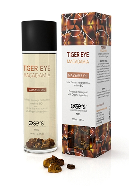 Tiger Eye Macadamia Organic Massage Oil with Stones - Exsens