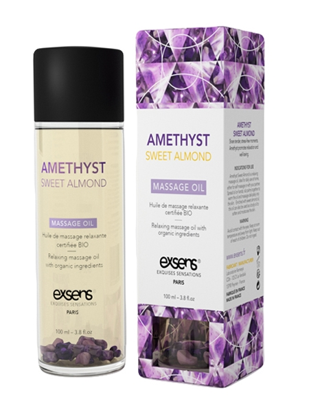 Amethyst Sweet Almond Organic Massage Oil with Stones - Exsens