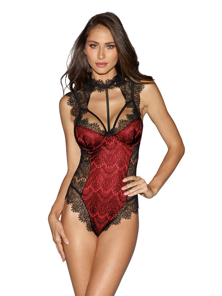 Red satin lace teddy - DreamGirl
