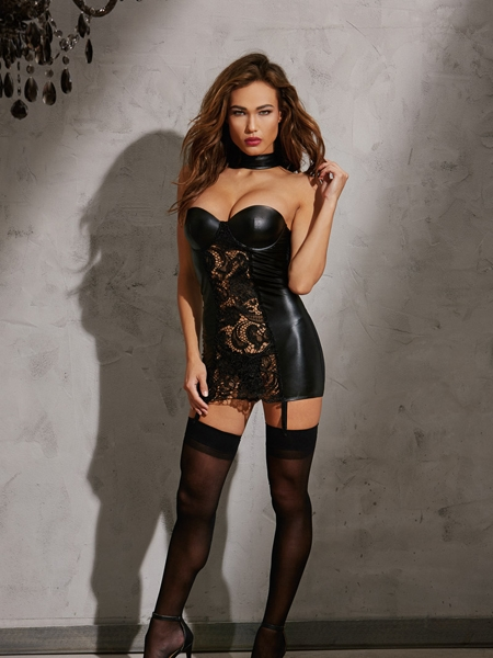 Faux-leather look Chemise - Dreamgirl