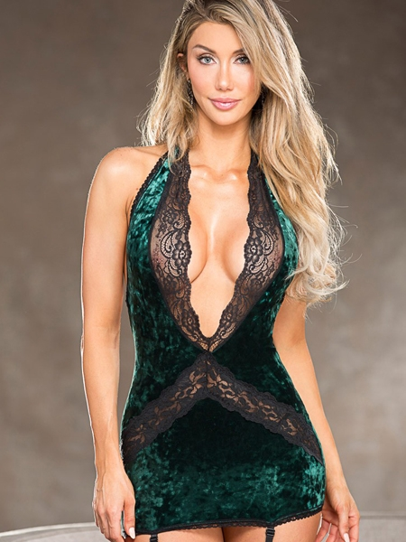 Green Velvet Chemise - Shirley of Hollywood