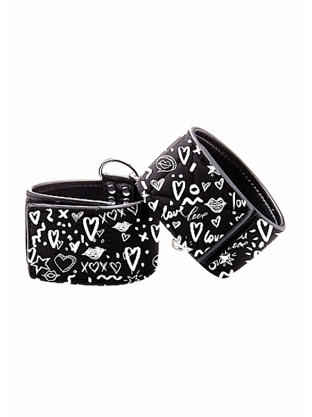 Adjustable printed leather wrist cuffs - Ouch!