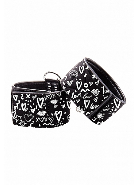 Adjustable printed leather ankle cuffs - Ouch!
