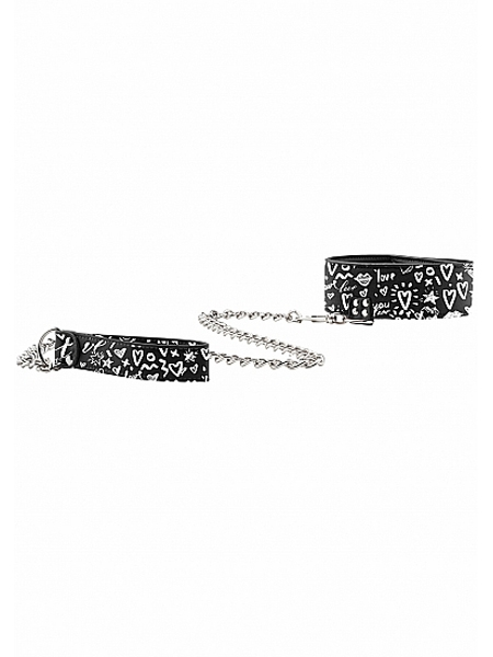 Adjustable printed leather collar with leash - Ouch!
