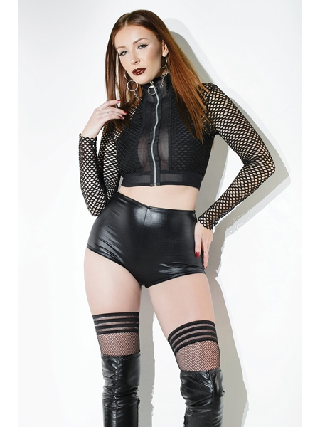 Black Fishnet Crop Top - Coquette
