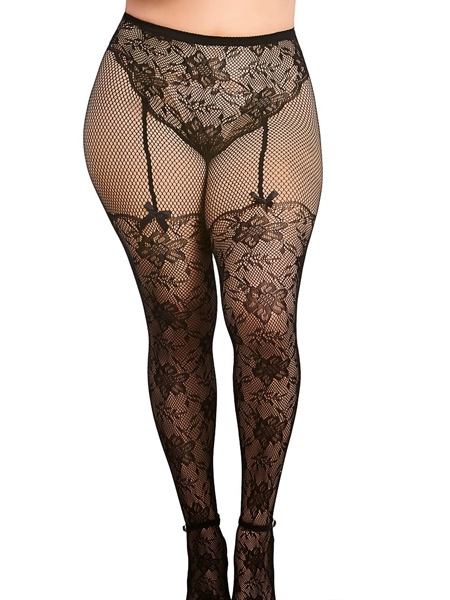 Fishnet pantyhose with a delicate lace pattern - Dreamgirl