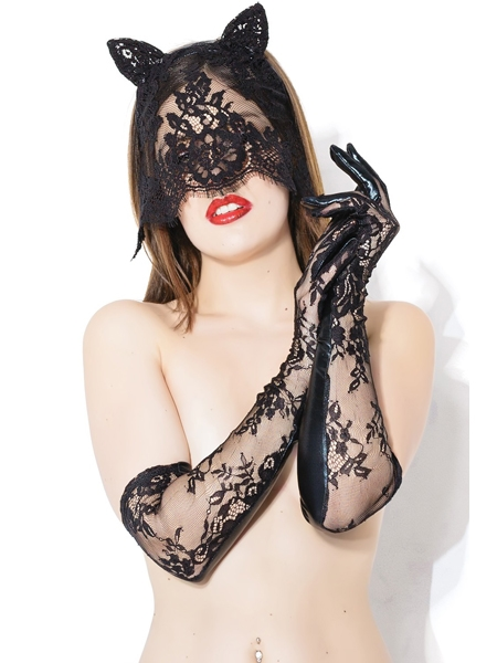 Sex Kitten Mask and Glove Set - Coquette